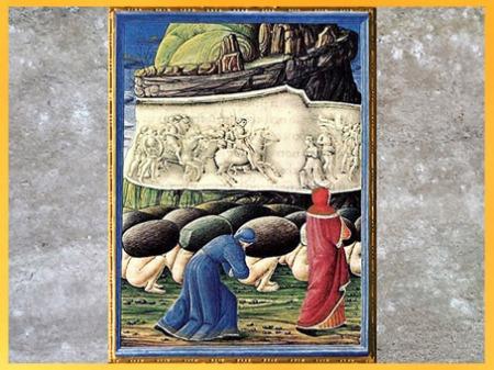 D'après la Divine Comédie, Les Orgueilleux, Purgatoire, de Guglielmo Giraldi, 1477-1482, manuscrit enluminé de Federico da Montefeltro, duc d'Urbino, Vatican, XVe siècle, Renaissance. (Marsailly/Blogostelle)