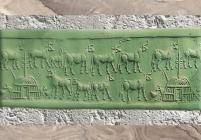 D'après le troupeau sacré de la déesse Inanna, sceau, temple de Sîn, IIIe millénaire avjc, Khafadjé, Irak actuel, Mésopotamie. (Marsailly/Blogostelle)