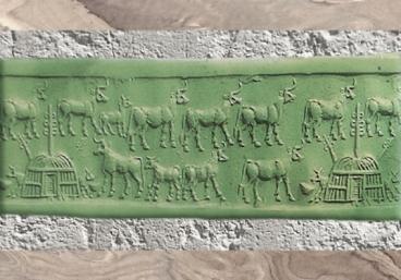 D'après le troupeau sacré de la déesse Inanna, empreinte de sceau, temple de Sîn, IIIe millénaire avjc, Khafadjé, Irak actuel, Mésopotamie. (Marsailly/Blogostelle)