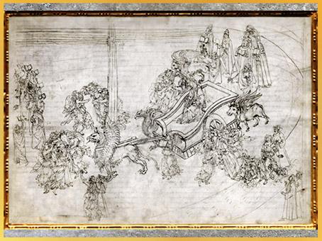 D'après la Divine Comédie, Char fantastique, Purgatoire, Sandro Botticelli, 1480-1495, XVe siècle, Renaissance. (Marsailly/Blogostelle)