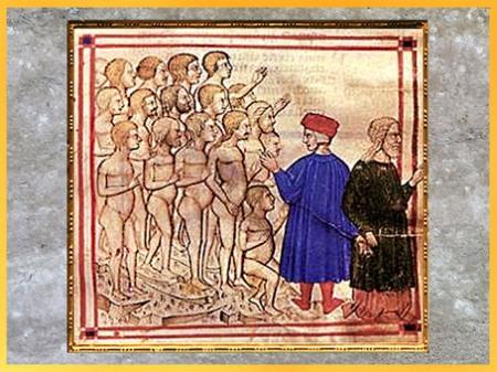 D'après Dante et Virgile, les âmes du Purgatoire, miniature, Divine Comédie, manuscrit enluminé, Venise, XIVe siècle, fin époque médiévale. (Marsailly/Blogostelle)