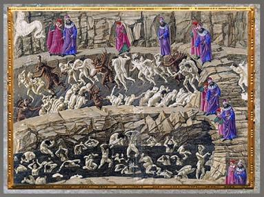 D'après le cercle de la Fourbe, la fosse maudite, l'Enfer, Sandro Botticelli, La Divine Comédie, 1480-1495, fin XVe siècle, Renaissance. (Marsailly/Blogostelle)