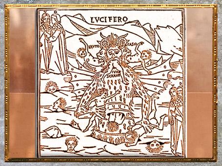 D'après Lucifer, l'Enfer, La Divine Comédie, Pietro di Piasi, illustration, 1491, Venise, XVe siècle, Renaissance. (Marsailly/Blogostelle)