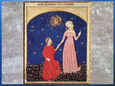 D'après Dante et Béatrice, Paradis, Divine Comédie, miniature vénitienne, XIVe siècle, art Médiéval. (Marsailly/Blogostelle)