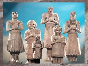 D'après un groupe d'orants, temple d'Abu, dieu de la Verdure, vers 2550-2600-avjc, dynasties archaïques, Sumer, Eshnunna,Tell Asmar, actuel Irak, Mésopotamie. (Marsailly/Blogostelle)