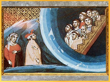 D'après L'échelle d'Or du Paradis, Divine Comédie, vers 1330, Bologne, XIVe siècle, époque médiévale. (Marsailly/Blogostelle)