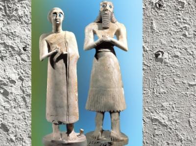 D'après un couple d'orants, temple d'Abu, Eshnunna, vers 2550-2600 avjc, époque des dynasties archaïques, Sumer, Tell Asmar, Irak actuel, Mésopotamie. (Marsailly/Blogostelle)
