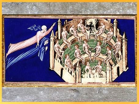 D'après le Paradis, cité céleste, de Giovanni di Paolo, 1450, Divine Comédie, Toscane, XVe siècle, Renaissance. (Marsailly/Blogostelle)