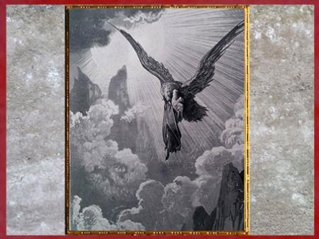 D'après le songe de Dante, un aigle aux ailes d'or, Purgatoire, de Gustave Doré, 1861, La Divine Comédie, XIXe siècle. (Marsailly/Blogostelle)