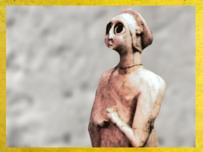 D'après une femme en prière, temple Carré du dieu Abu, vers 2550-2600 avjc, époque des dynasties archaïques de Sumer,Eshnunna-Tell Asmar, Irak actuel, Mésopotamie. (Marsailly/Blogostelle)
