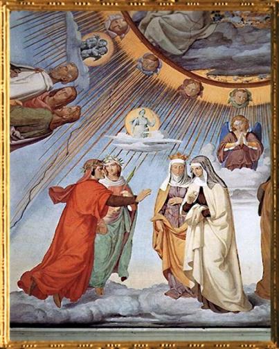D'après Dante et Béatrice, détail, l'Empyrée, Philipp Veit, 1817-1827 apjc, fresque villa Massimo, Rome. (Marsailly/Blogostelle)