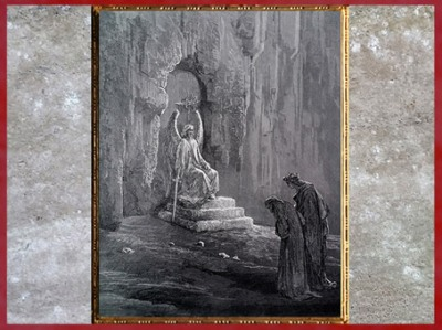 D'après Dante, Virgile et l'Ange de l'entrée du Purgatoire, de Gustave Doré, 1861, La Divine Comédie, XIXe siècle. (Marsailly/Blogostelle)