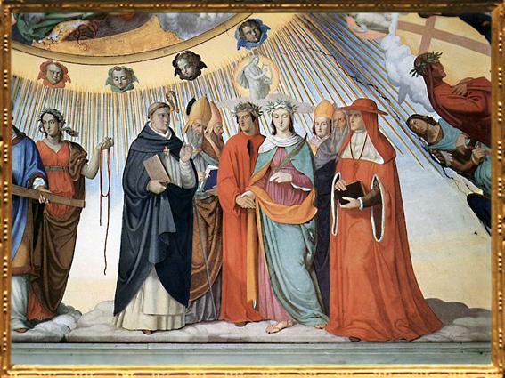 D'après Dante et Béatrice, Saint Thomas d'Aquin, Albertus Magnus, Petrus Lombardus..., Philipp Veit, 1817-1827 apjc, fresque villa Massimo, Rome. (Marsailly/Blogostelle)
