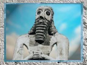 D'après unorant, au visage et à la barbe en forme de trapèze, vers 2550-2600 avjc, période des dynasties archaïques,Sumer, Mésopotamie. (Marsailly/Blogostelle)