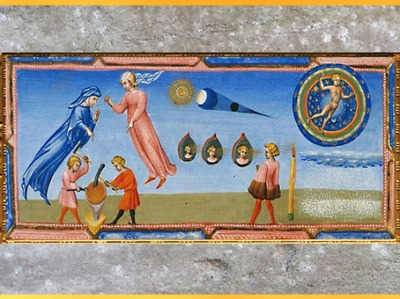D'après le Paradis, la forge, de Giovanni di Paolo, 1450, Divine Comédie, Toscane, XVe siècle, Renaissance. (Marsailly/Blogostelle)