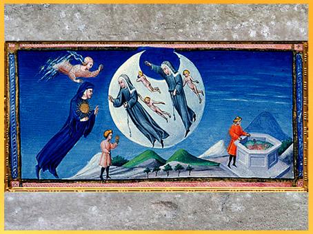 D'après le Paradis, fontaine, de Giovanni di Paolo, 1450, Divine Comédie, Toscane, XVe siècle, Renaissance. (Marsailly/Blogostelle)