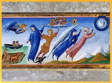D'après Dante et Béatrice quittant la Terre, Paradis, de Giovanni di Paolo, 1450, Divine Comédie, Toscane, XVe siècle, Renaissance. (Marsailly/Blogostelle)