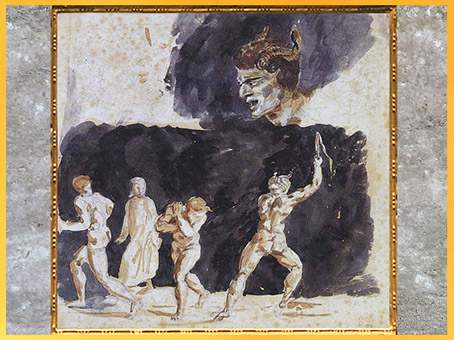 D'après Dante, les Ruffians et les Séducteurs, d'Eugène Delacroix, 1819-1822, Divine Comédie, XIXe siècle. (Marsailly/Blogostelle)