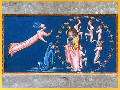 D'après le Paradis, bienheureux, de Giovanni di Paolo, 1450, Divine Comédie, Toscane, XVe siècle, Renaissance. (Marsailly/Blogostelle)