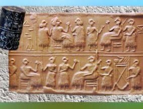 D'après une scène de banquet, sceau de la reine Pû-abi, vers 2600 avjc, tombes royales d'Ur (Tell al-Muqayyar), actuel Irak, époque desdynasties archaïques, Sumer,Mésopotamie. (Marsailly/Blogostelle)