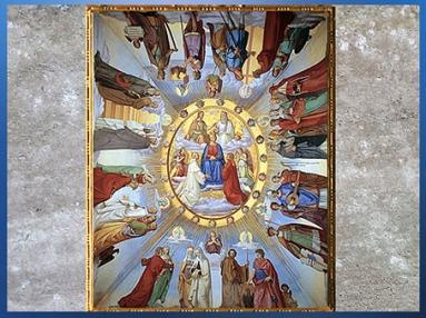 D'après L'Empyrée, Divine Comédie, de Philipp Veit,1819-1824, fresque, Villa Casino Massimo, Rome, XIXe siècle. (Marsailly/Blogostelle)