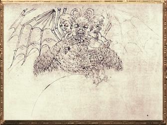 D'après Lucifer, la Divine Comédie, esquisse, Sandro Botticelli, 1480-1495 apjc, XVe siècle, Renaissance italienne. (Marsailly/Blogostelle)