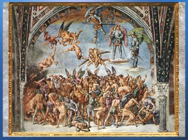 D'après l'Enfer, Divine Comédie, de Luca Signorelli, fresque, chapelle San Brizio, Orvieto, 1499-1502, début XVIe siècle, Renaissance. (Marsailly/Blogostelle)