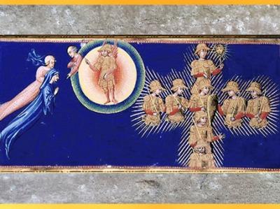 D'après la Croix du Ciel de Mars, le Paradis, Divine Comédie, de Giovanni di Paolo, 1450, Toscane, XVe siècle, Renaissance. (Marsailly/Blogostelle)
