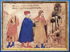 D'aprèsDante et Virgile, miniature, Divine Comédie, manuscrit enluminé, Venise, XIVe siècle, fin époque médiévale. (Marsailly/Blogostelle)