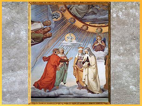D'après Dante et Béatrice, Empyrée, de Philipp Veit, 1819-1824, La Divine Comédie, fresque, Villa Casino Massimo, Rome, XIXe siècle. (Marsailly/Blogostelle)