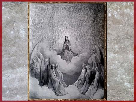 D'après la Lumineuse Vision de la Vierge, de Gustave Doré, 1861, Empyrée, Divine Comédie, XIXe siècle. (Marsailly/Blogostelle)