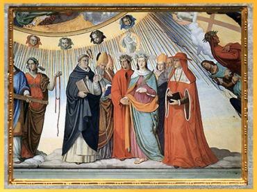 D'après Dante, Béatrice, Saint Thomas d'Aquin..., Empyrée, de Philipp Veit, 1819-1824, La Divine Comédie, fresque, Villa Casino Massimo, Rome, XIXe siècle. (Marsailly/Blogostelle)