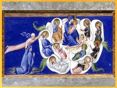 D'après la Rose Céleste, Empyrée, Divine Comédie, de Giovanni di Paolo, 1450, Toscane, XVe siècle, Renaissance. (Marsailly/Blogostelle)