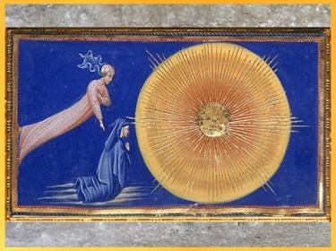 D'après La Divine Comédie, l'Empyrée, Dante et Béatrice, Giovanni di Paolo, 1450, Toscane, XVe siècle, Renaissance. (Marsailly/Blogostelle)