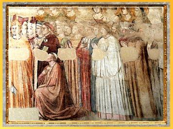 D'après la fresque du Paradis, de Giotto Di Bondonne, 1335, Divine Comédie, chapelle du Bargello, Florence, XIVe siècle, fin époque Médiévale. (Marsailly/Blogostelle)