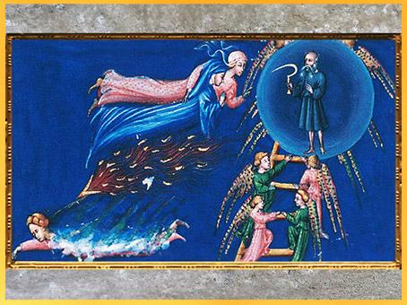 D'après l'Empyrée, Sphère de Saturne, Divine Comédie, Giovanni di Paolo, 1450, Toscane, XVe siècle, Renaissance. (Marsailly/Blogostelle)