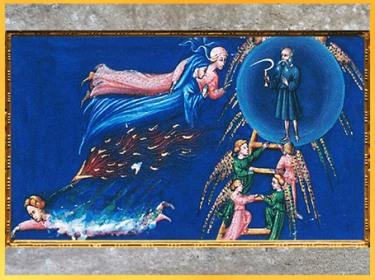 D'après l'Empyrée, Sphère de Saturne, La Divine Comédie, Giovanni di Paolo, 1450, Toscane, XVe siècle, Renaissance. (Marsailly/Blogostelle)