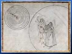 D'après Dante et Béatrice, la sphère de la Lune et le Cosmos, Sandro Botticelli, 1480-1495, La Divine Comédie, fin XVe siècle, Renaissance. (Marsailly/Blogostelle