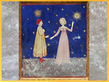 D'après Dante et Béatrice, les Ciels de la Lune et du Soleil, XIVe siècle, La Divine Comédie, école Vénitienne, art médiéval. (Marsailly/Blogostelle)