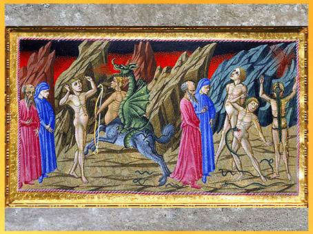 D'après l'Enfer, Cacus, mi-centaure, mi-dragon, de Giovanni di Paolo, 1450, Divine Comédie, Toscane, XVe siècle, Renaissance. (Marsailly/Blogostelle)