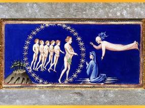 D'après Dante et Béatrice, Mont du Paradis, Divine Comédie, de Giovanni di Paolo, 1450, Toscane, XVe siècle, Renaissance. (Marsailly/Blogostelle)