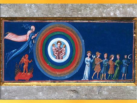 D'après le Paradis, figures astrologiques, Giovanni di Paolo, 1450, La Divine Comédie, Toscane, XVe siècle, Renaissance. (Marsailly/Blogostelle)