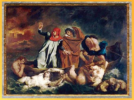 D'après Dante et Virgile aux Enfers, dit La Barque de Dante, Eugène Delacroix, 1822, huile sur toile, France, XIXe siècle. (Marsailly/Blogostelle)