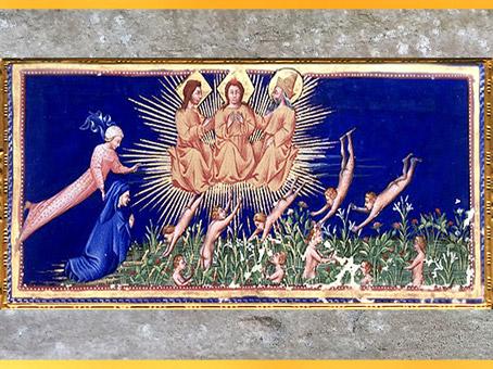D'après les saints et les bienheureux, Paradis, de Giovanni di Paolo, Divine Comédie, 1450, Toscane, XVe siècle, Renaissance. (Marsailly/Blogostelle)