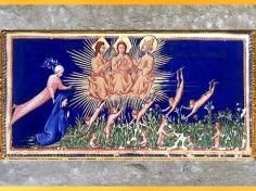 D'après les saints et bienheureux, Paradis, de Giovanni di Paolo, Divine Comédie, 1450, Toscane, XVe siècle, Renaissance. (Marsailly/Blogostelle)