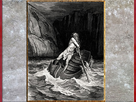 D'après Le passeur Charon, fleuve Acheron, la Divine Comédie, Gustave Doré, 1861, gravure, XIXe siècle. (Marsailly/Blogostelle)
