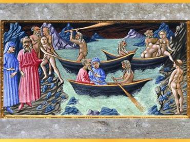 D'après l'Enfer, Dante, Virgile et Charon traversent l'Acheron, Giovanni di Paolo, 1450, La Divine Comédie, Toscane, XVe siècle, Renaissance. (Marsailly/Blogostelle)
