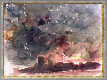D'après les murailles de la ville infernale de Dité, d'Eugène Delacroix, étude, aquarelle, XIXe siècle apjc. (Marsailly/Blogostelle)