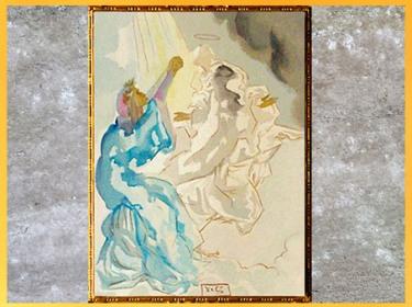 D'après... Citation. Dante et Béatrice, La Divine Comédie, Salvador Dali, 1950, aquarelle, XXe siècle. (Marsailly/Blogostelle)