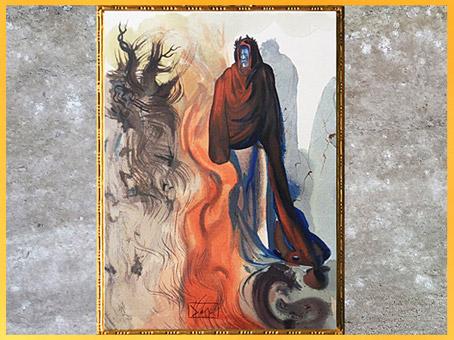 D'après... Citation. La cascade du Phlégéthon, fleuve de feu, l'Enfer, Salvador Dali, 1950, aquarelle, XXe siècle. (Marsailly/Blogostelle)